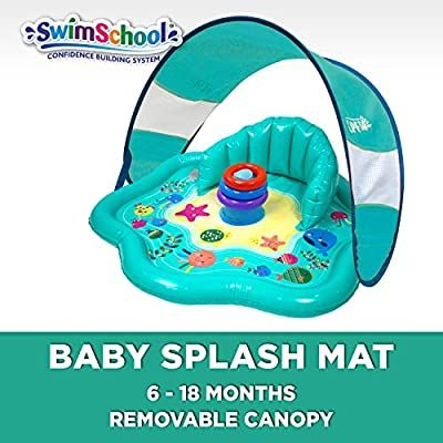 Amazon Com Swimschool Splash Play Mat With Backrest Removable Canopy For Babies And Toddlers Inflatable Kiddie Pool Wi In 2020 Kiddie Pool Cool Baby Stuff Play Mat