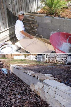 build a backyard retaining wall with concrete blocks and then
