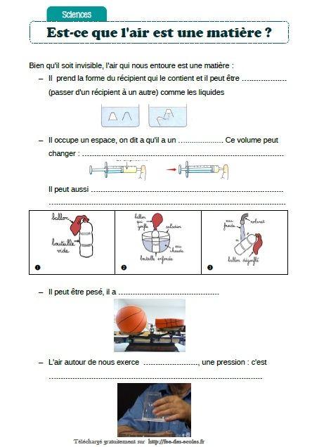 Sciences Sequence Sur L Air Cycle 3 L Air Est Il Une Matiere