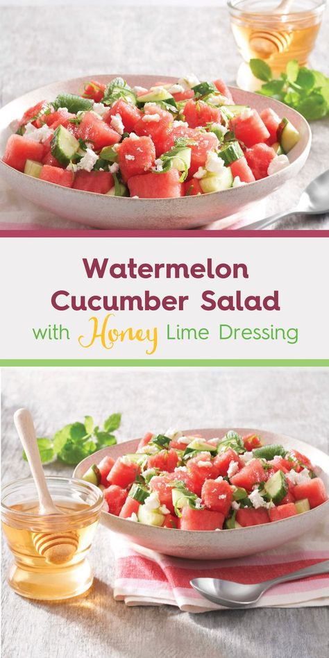 This Watermelon Cucumber Salad with Honey Lime Dressing is as nutritious as it is delicious, and is made possible by honey bees! Did you know that both watermelon and cucumbers REQUIRE bee pollinators? And to top it all off, it's drizzled with a honey lime dressing for the perfect balance of sweet and tart flavor. #ad Find more honey recipes @nationalhoney