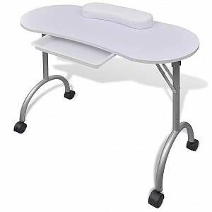 Vidaxl Table A Manucure Pliable Avec Roulettes Blanc Table Manucure Table Pliante Cuir Artificiel