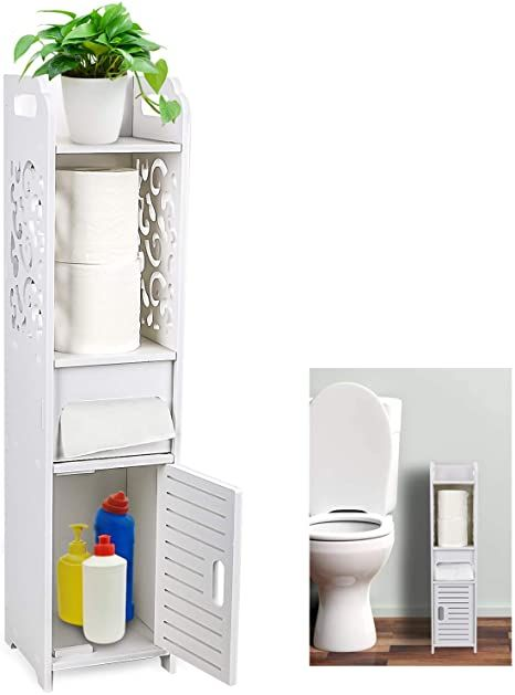 Gotega Small Bathroom Storage Toilet Paper Storage Corner Floor Cabinet With Doors And Shelves Ho In 2021 Small Bathroom Storage Bathroom Storage Bathroom Organisation