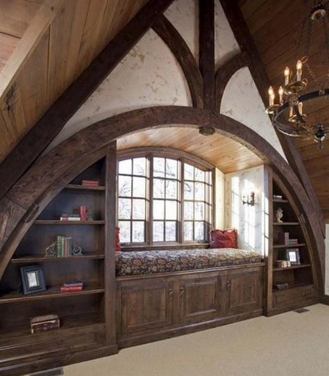 Maybe for the library mezzanine or library annex, but the architecture gives itself to the attic of a Tudor house. Attic Rooms, Attic Spaces, Attic Bathroom, Attic Playroom, Attic Apartment, Bathroom Small, Attic Bed, 1950s Bathroom, Paint Bathroom