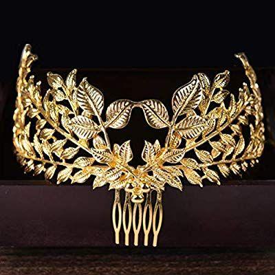 Frcolor Goldener Griechischer Roman Leaf Crown Kopfschmuck Braut