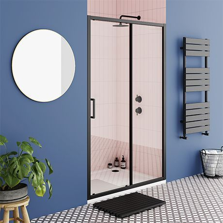 Turin Matt Black 1000 X 1850 Sliding Shower Door Victorian Plumbing Uk Slidingshowerdoors Turin Matt Bla Bifold Shower Door Sliding Shower Door Shower Doors