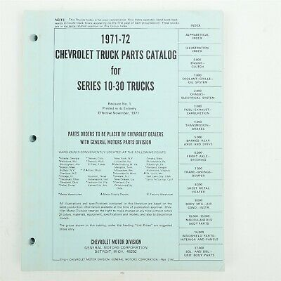 Advertisement Ebay 71 72 Chevy C10 C20 C30 K10 K20 K30 Trucks Parts Catalog Manual G10 G20 G30 Truck Parts Chevy C10 Parts Catalog