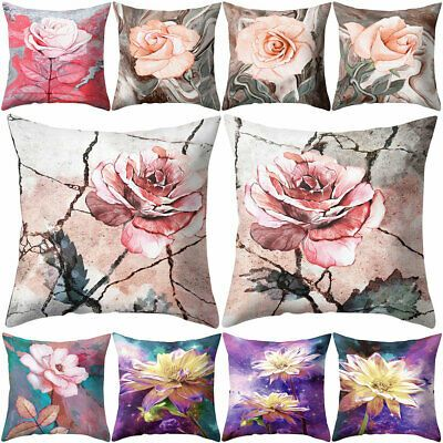 Fashion Rose Flower Floral Pattern Cushion Cover Pillow Case Home Sofa Car Décor