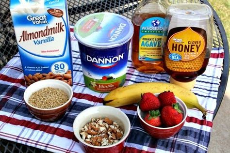 Overnight Refrigerator Oatmeal + Yogurt Fruit Dippers  - Easy and Delicious Yogurt Breakfast Ideas. Products available at Walmart.