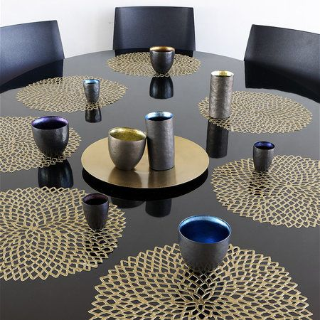 Buy Chilewich Pressed Vinyl Dahlia Round Placemat Brass Amara Placemats Brass Dining Table Chilewich