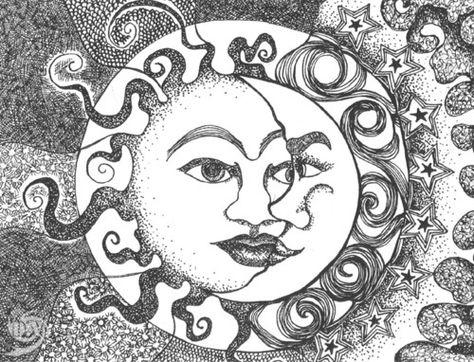 Sun & The Moon Faces | Sun Moon | Pinterest | Sol, Dibujos y Astronomía