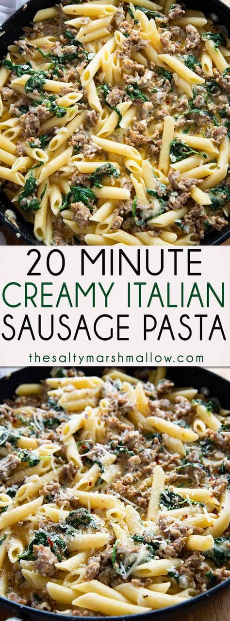 Creamy Italian Sausage Pasta is a family favorite Italian pasta recipe! This easy pasta dish is full of savory sausage and a delicious, creamy, parmesan sauce and ready in 20 minutes! #easypastarecipes #easydinnerrecipes #italiansausage #italiansausagepasta #easyitaliansausagepasta #spinachpasta #dinnerrecipes #thesaltymarshmallow