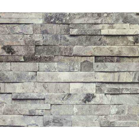 Hyfive Wallpaper 3d Brick Effect Natural Grey Stone Colour 10 X 0 53 M Wp100 Brick Effect Wallpaper 3d Brick Wallpaper Brick Wallpaper