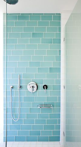 Gorgeous Color For The Bathroom // Aqua Glass Subway Tile Bath Wall And  Surround For