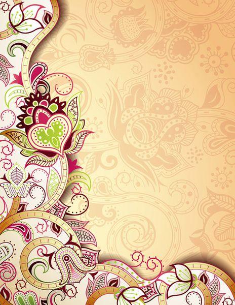 Floral Patterns Retro Style Background Wedding Photography Album