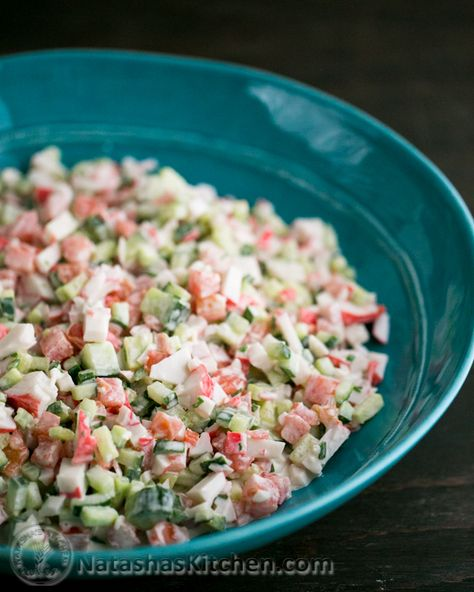 Crab Salad with Cucumber and Tomato. So easy and way way way better than any deli crab salad!