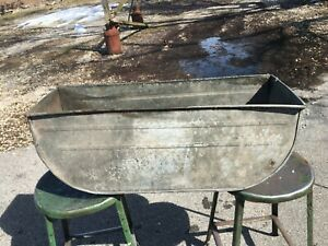 Vintage Extra Large Double Galvanized Oval Wash Tub 31 5 X 10 X 12 Planter Ebay In 2020 Wash Tubs Galvanized Metal Wash Tub