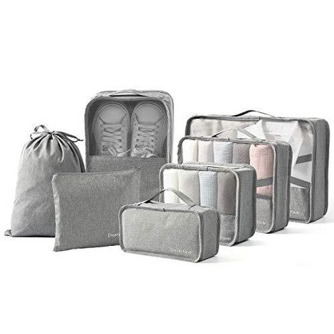 BIMNOOT Packing Cubes 7-Pcs Travel Luggage Packing Organizers Set with Laundry Bag & Shoe Bag - Grey
