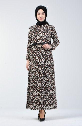 Sefamerve Leopar Desenli Kemerli Elbise 1909 01 Siyah Kiremit 2020 Elbise Elbise Modelleri Giyim