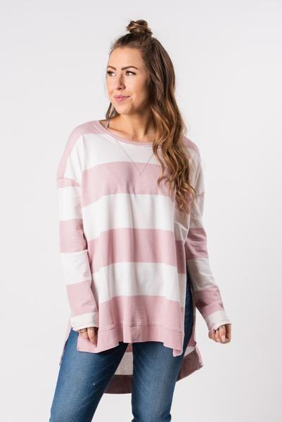 Z Supply Rugby Stripe Weekender Pale Blush Desert White In 2020 Stripe Trendy Sets How To Wear
