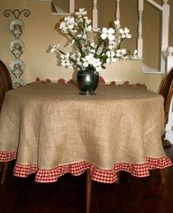 burlap with red gingham