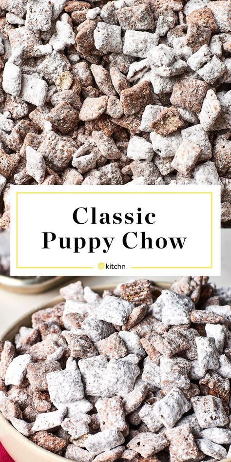 How To Make Puppy Chow (or Muddy Buddies) — Cooking Lessons from The Kitchn Chex cereal is coated in a mixture of butter, peanut butter, and chocolate — then tossed in powdered sugar — for the very best salty-sweet party snack. Puppy Chow Recipes, Snack Mix Recipes, Cooking Recipes, Best Puppy Chow Recipe, Peanut Butter Puppy Chow Recipe, Healthy Puppy Chow, No Bake Recipes, Desert Recipes, Gourmet