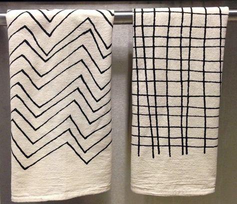 Tea Towel - Screen Printed Organic Cotton Flour Sack Towel - Soft and Absorbent Dish Towel - Chevron or Plaid. $14.00, via Etsy.