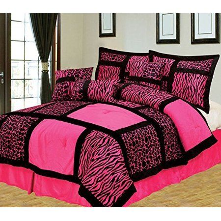 Empire Home Safari 7 Piece Hot Pink Queen Size Comforter Set On