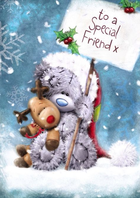 Christmas Card - Friend - Tatty Teddy with a Red Nosed Reindeer - (C96)