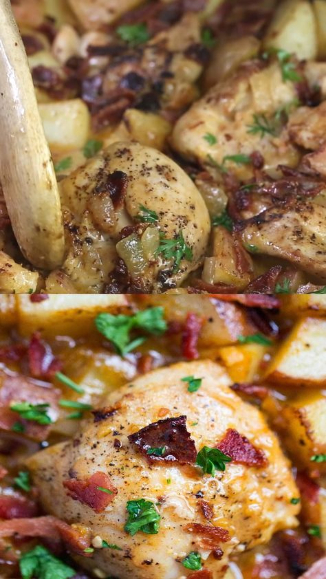 One Pan Dijon Chicken and Potatoes Recipe...the caramelized onions, roasted potatoes, juicy chicken, and dijon glaze give this dish so much flavor! #chicken #chickenrecipes #easy #easyrecipe #easydinner #healthy #healthyrecipes #healthyeating #recipe #iheartnaptime #video #videorecipe #foodvideo