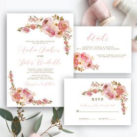 Free Editable Wedding Invitation Suite Invite Rsvp And Details Card Vintage Pink Delicate Watercolor Flowers Floral Instant Download Printable Diy Temp Free Printable Wedding Invitations Free Wedding Invitations Free Wedding Printables
