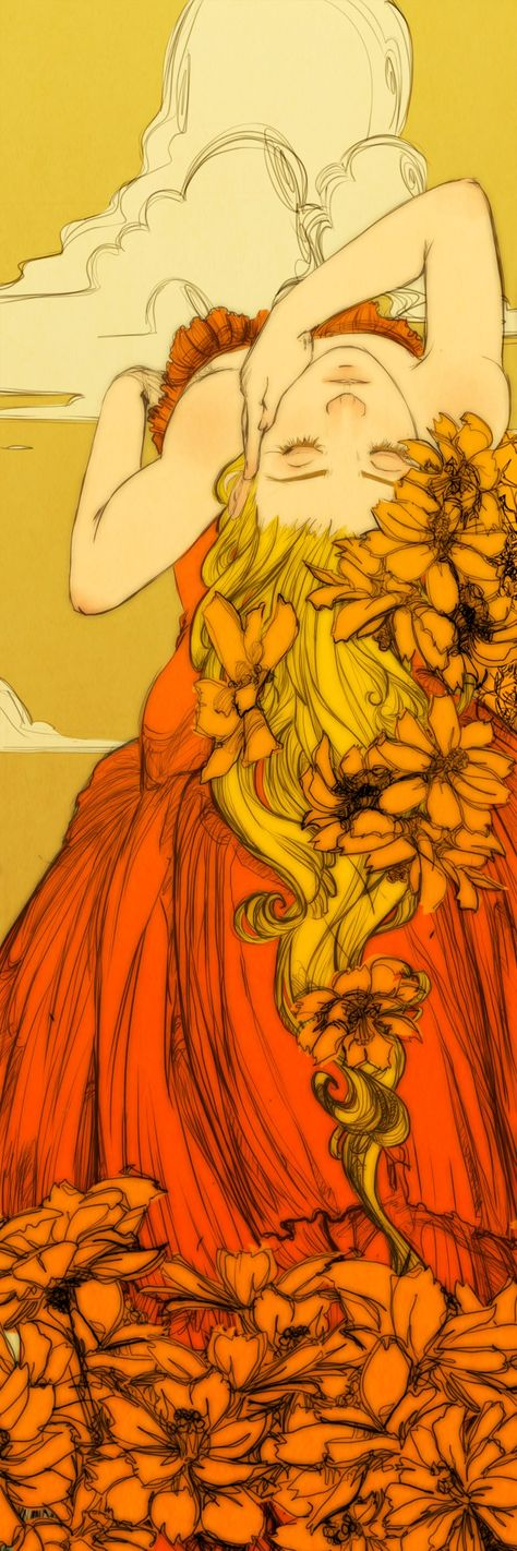 Trendy flowers in hair illustration inspiration ideas Hair Illustration, Mellow Yellow, Orange Yellow, Aesthetic Art, Flowers In Hair, Art Inspo, Art Reference, Amazing Art, Art Nouveau