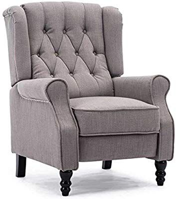 Althorpe Wing Back Fireside Recliner Fabric Bonded Leather Occasional Armchair Sofa Chair Marl Grey Linen Amazon C Occasional Armchairs Armchair Sofa Chair