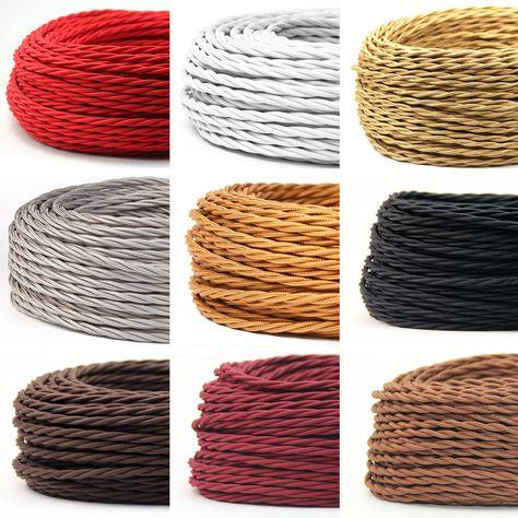 Leitung Textilfaser umflochten 3x0,75 H03VV lamé braun Textilkabel rund