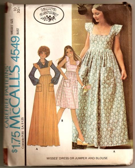 Vintage Boho Maxi Jumper Dress by Laura Ashley McCalls 4549 Sewing Pattern by PeoplePackages Moda Vintage, Vintage Mode, Vintage 70s, Vintage Outfits, Vintage Dresses, Vintage Dress Patterns, Clothing Patterns, Laura Ashley Patterns, Laura Ashley 1970s