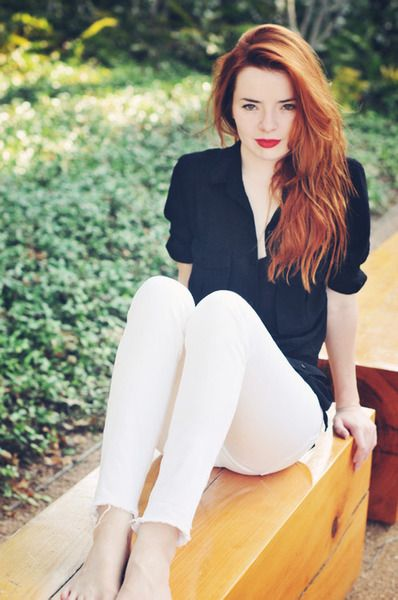 Red hair, red lip.