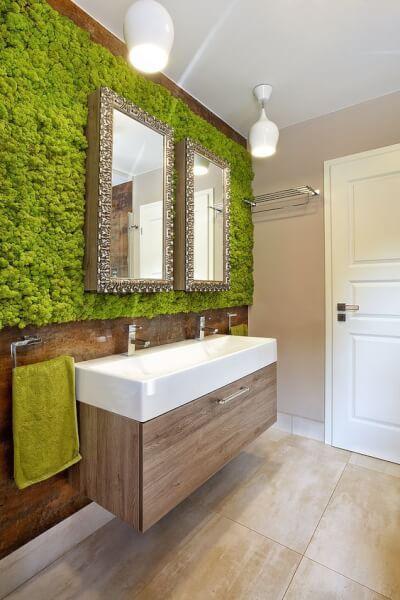 Dekoracje Pomieszczen Z Uzyciem Mchu Katowice Krakow Chrobotek Design Bedroom Decor Design Biofilic Design Bathroom Design