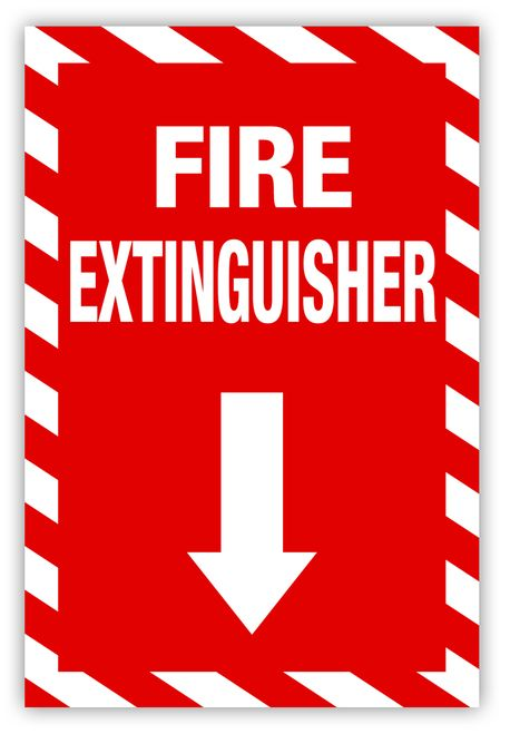 This Label Says Fire Extinguisher On It In Bold White Letters On A Black Background It Also Has A Large White Arr Fire Alarm Fire Extinguisher Extinguisher