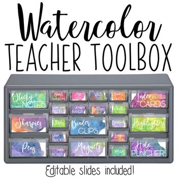 These Watercolor Teacher Toolbox Labels Have Beautiful Calming Colors And An Editable Powerpoint Is In Teacher Toolbox Labels Teacher Toolbox Teacher Toolkit