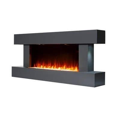 Amberglo Grey Wall Mounted Electric Fireplace Suite With Log