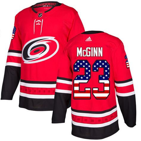 929d670bb Adidas Hurricanes  23 Brock McGinn Red Home Authentic USA Flag Stitched NHL  Jersey