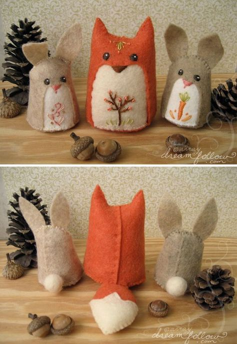 Cute, Soft, Cuddly And Funny Felt Animals' Art - Bored Art Felt Animals, Animals For Kids, Sewing Projects, Craft Projects, Fox Crafts, Felt Fox, Felt Bunny, Felt Finger Puppets, Felt Ornaments