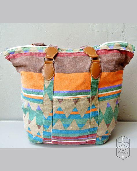 vintage purse - Aztec tote bag carry all shopping bag - southwestern print purse via Etsy