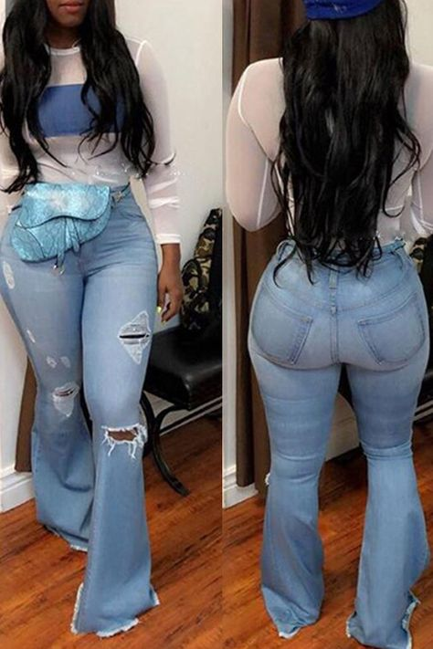 Lovely Casual Trumpet-shaped Broken Holes Baby Blue Jeans (With High-elastic)_Jeans_Bottoms_LovelyWholesale | Wholesale Shoes,Wholesale Clothing, Cheap Clothes,Cheap Shoes Online. - LovelyWholesale.com