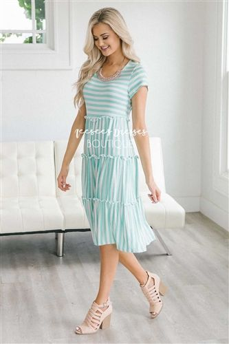 3ed2063f116e Mint Stripes Ruffle Tiered Modest Dress | Best Online Modest Boutique for  Dresses | Cute Modest Clothes for Church