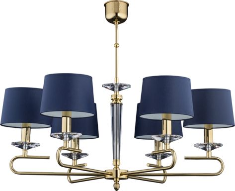 Luxury Gold Chandelier Kadalia With Blue Fabric Lamp Shades And Swarovski Crystals 6 Lights Blue Chandelier Blue Lamp Shade Gold Chandelier Light