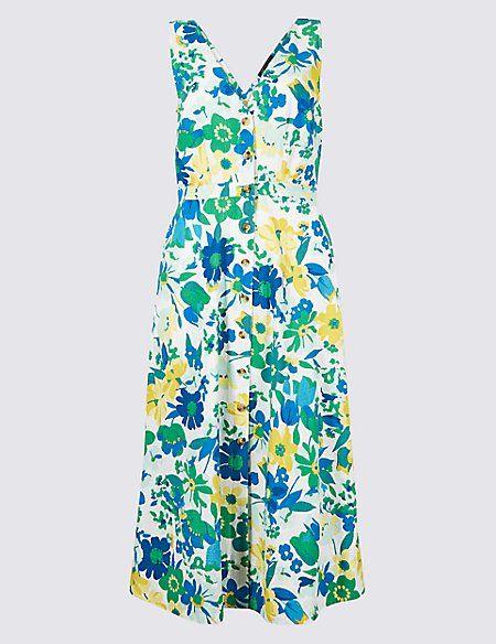 647ce45d9a8d8 Pure Cotton Floral Print A-Line Midi Dress   Clear Summer (Jasné ...