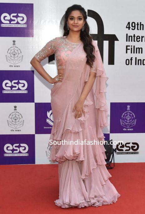 Keerthy Suresh in Anushree Reddy at IFFI Goa 2018 – South India Fashion