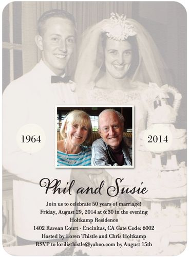 A perfect invitation for my parent's 50th Wedding Anniversary. I LOVE the past/present theme. Super easy to create through tinyprints.com. Excellent quality. I can't wait until they see it!!!