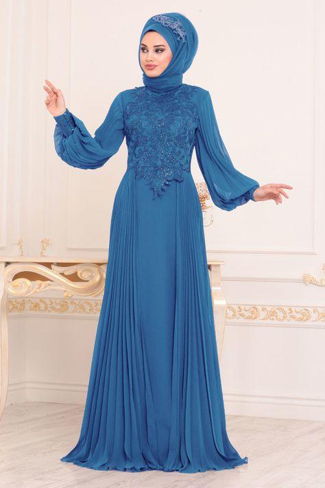 5ed17573a3922 Tesettürlü Abiye Elbise - Dantel Detaylı İndigo Mavisi Tesettür Abiye Elbise  46220IM
