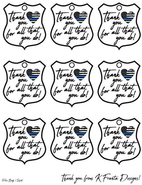 Police Badge Thank You Tag Thin Blue Line Heart Flag Printable Gift Goody Bag Digital Download Polic